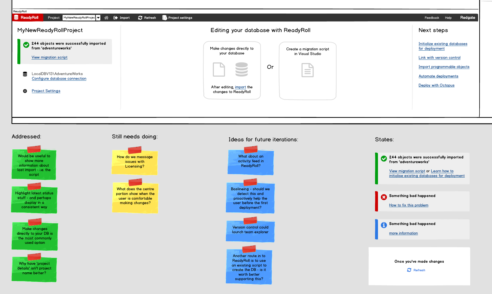 ReadyRoll set up experience Balsamiq mock-up
