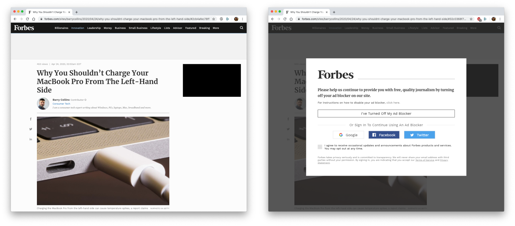 The same page viewed using AdblockerPlus and Pi-hole